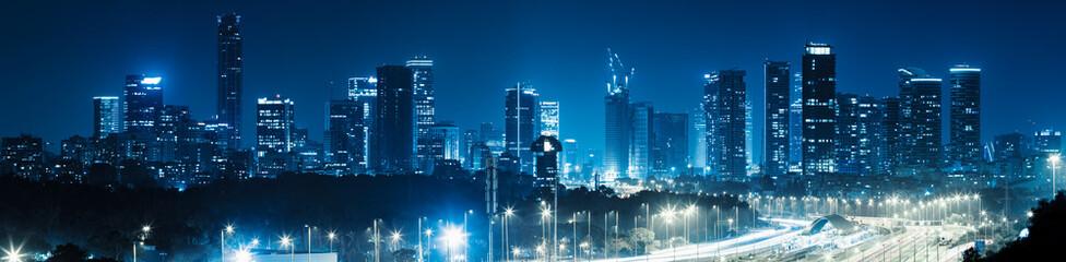 Panorama Of Tel Aviv City And Ayalon Freeway At Night Fotomurales