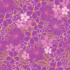 Vector purple and pink tropical flowers hibiscus and frangipani seamless pattern background. Perfect for fabric, scrapbooking, wallpaper projects.