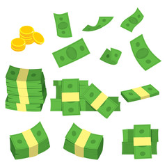 Set collection of green banknote money and golden coins