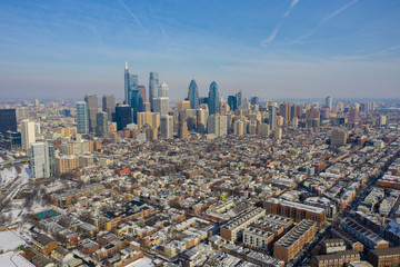Wall Mural - Aerial far shot of Philadelphia taken with a drone