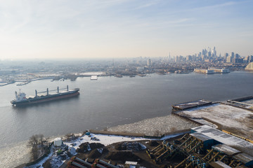 Aerial Delaware River with views of Philadelphia