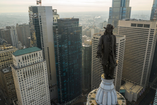 Aerial photo William Penn Statue on the Philadelphia City Hall Building