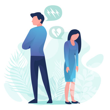 Family quarrel. Unhappy couple. Conflict in relations, disagreements. A man and a woman are angry with each other. Vector illustration in a flat style