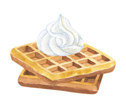 Belgian waffles with whipped cream. Hand drawn watercolor illustration. Isolated on white background.