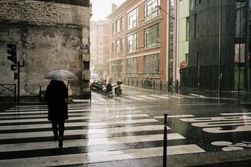 Woman with umbrella walking in the rainy street in Paris Fotobehang