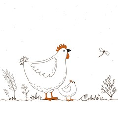 Card with two funny cartoon chickens and butterfly