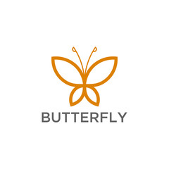 Butterfly outline Logo vector