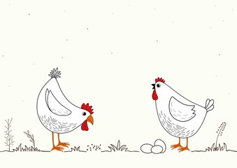 Card with two funny cartoon chickens