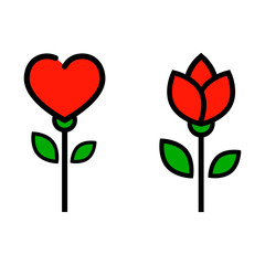 cartoon tulip and and flower rose vector