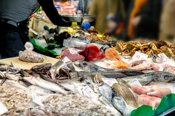Various shrimps, shellfish and other seafood are sold on the market