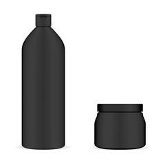 Set of Black Cosmetic Packaging. Bottle for Shampoo and Cream Jar. Moderm beauty Isolated 3d Container. Hair Wash or Protection Gel Pack. Body Cosmetics.