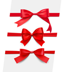 Set of realistic satin red bows. Vector illustration isolated on white background. Can be use for decoration gifts, greetings, holidays, etc. EPS10.