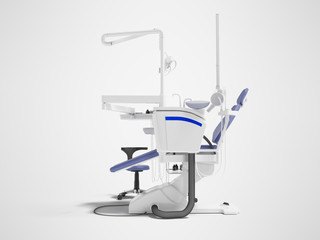Dental equipment for dental treatment of the patient left side 3d render on gray background with shadow