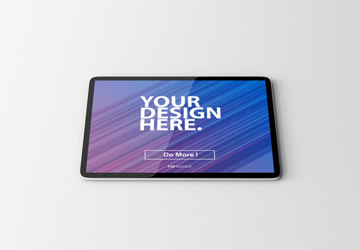 Tablet on Gray Surface Mockup