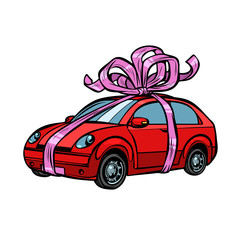 car gift, transport tied with festive ribbons. Isolate on white background
