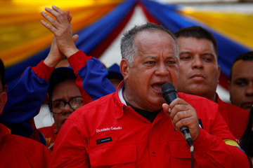 Venezuela's National Constituent Assembly President Diosdado Cabello speaks during a rally with pro-government supporters in Urena