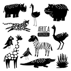 Black and white exotic animals vector collection. Animal silhouette hippopotamus and crocodile, bird and cheetah illustration