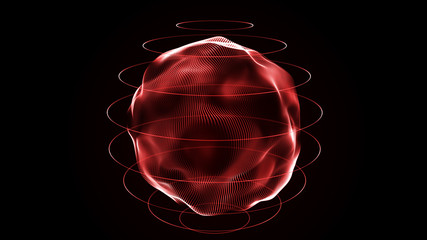 Futuristic sphere of dots. Abstract particles background with sphere.Globalization interface. Sense of science and technology abstract graphics. 3D rendering.