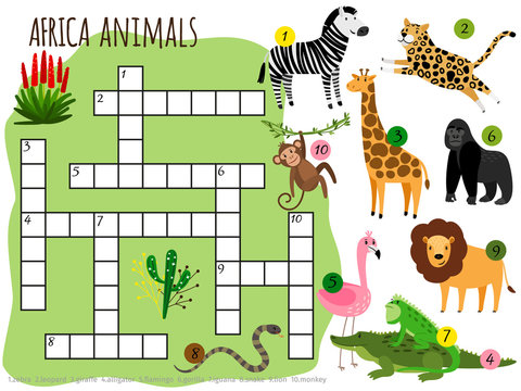 Exotic african animals vector crossword for children. Illustration of game puzzle crossword with animal crocodile and snake