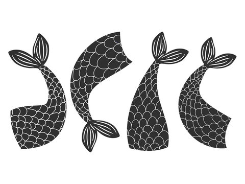 Black and white vector fishes, mermaids tails collection. Mermaid and fairytale fish, tail of animal illustration