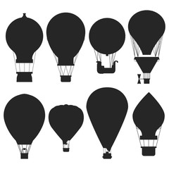 Vector hot air balloons silhouettes isolated on white background. Air balloon for adventure, transport flight illustration