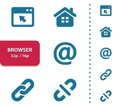 Browser Icons (4x magnification for preview).