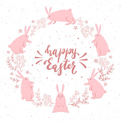 Card with Cute Pink Easter Rabbits
