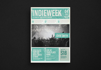 Indie Music Newspaper Layout with Distressed Effects