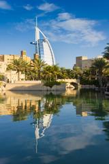 Foto op Canvas Dubai View of the hotel Burj Al Arab from Souk Madinat Jumeirah