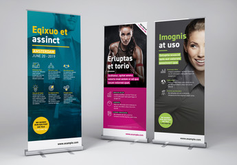 Roll-Up Advertising Banner set - icons included
