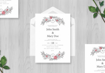 Wedding Invitation Layout with Floral Illustrations