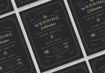 Wedding Invitation Layout on a Black Background