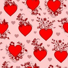 Valentine's Day Vintage Floral Heart Seamless Pattern
