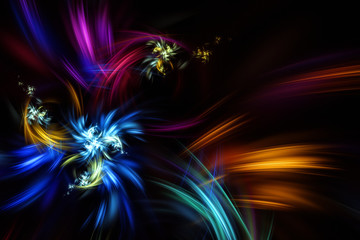 Multicolored fireworks on a black background. Festive raster graphic illustration