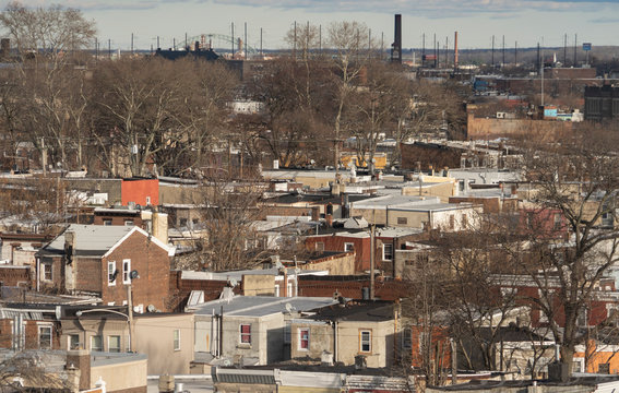 Homes and skyline looking from above in northern Philadelphia Kennsington.