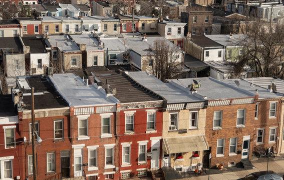 row homes in Kensington northern Philadelphia PA