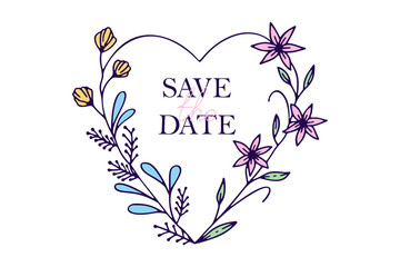 Save the date hand drawn hearts with stylized flowers - vector illustration design for t shirt graphics, fashion prints, slogan tees, stickers, cards, posters and other creative uses