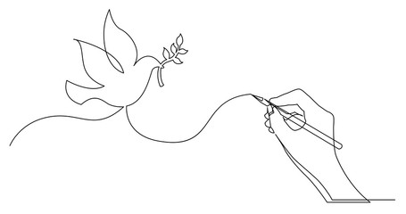 hand drawing business concept sketch of peace dove with brunch