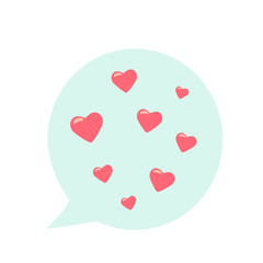 SMS message bubble speech with hearts. sign of love for valentines day. flat vector illustration