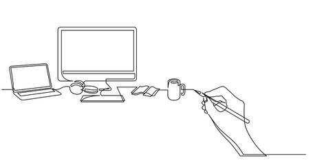hand drawing business concept sketch of desktop computer laptop and mug