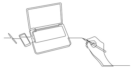 hand drawing business concept sketch of laptop computer phone and pencil