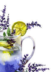 Lemonade with lemon and lavander