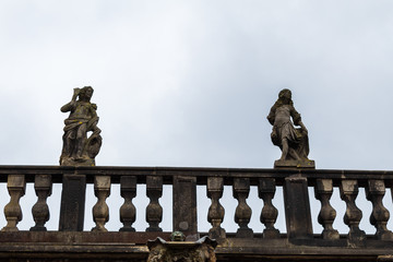 herrenhausen garden cascade top statues winter cloudy overcast