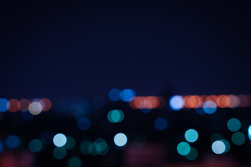 Blurred light night city bokeh abstract background