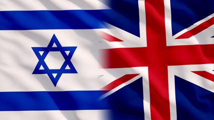 Waving Israel and UK Flags