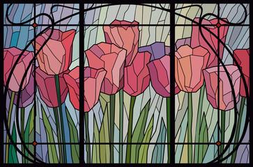 Stained glass pink tulips. Frame lattice modern. Vector graphics