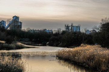 Chemical works in the sunset