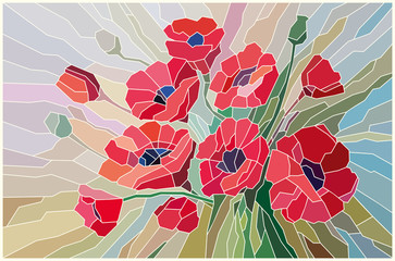 Stained glass scarlet poppies on a beige background. Vector graphics