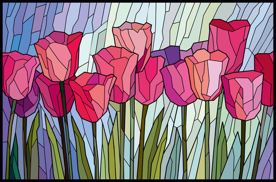 Stained glass pink tulips from angular pieces. Vector graphics