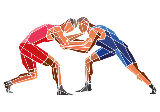 Freestyle wrestling. Two stylized geometric athletes are fighting. Vector shape graphics